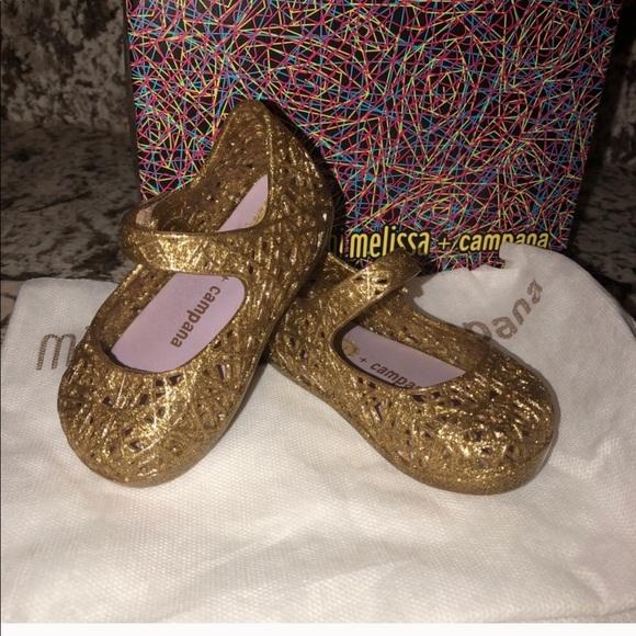 Mini Melissa Gold Glitter Toddler Shoes